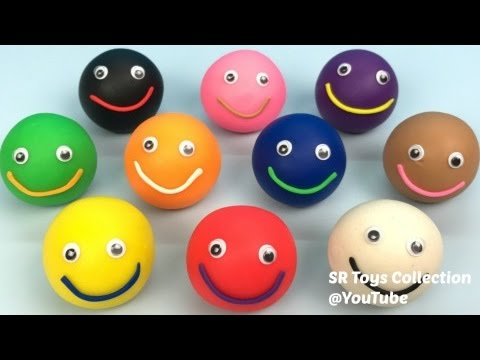Thumbnail: Learn Colours Play Doh Smiley Face Paw Patrol Elmo Peppa Molds Kinder Joy Mickey Mouse Surprise Eggs