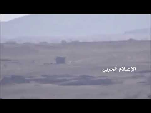 Yemen's Aljawf :Yemeni popular committees destroy a military vehicle for the the Saudi fighters in A