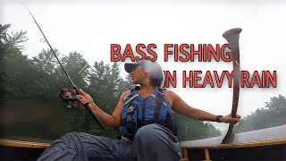Solo Woman Paddles into Wind and Heavy Rain Storm - Fishing for Bass & ASMR