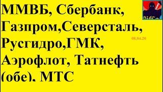 Сбербанк,Газпром,Северсталь,Русгидро,ГМК,Аэрофлот,Татнефть (обе), МТС 08.04.20