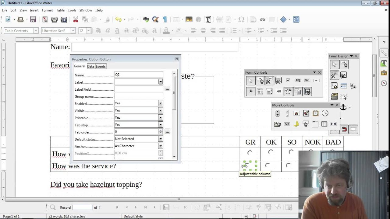 Creating A Fillable Pdf Form Using Libreoffice Writer Youtube