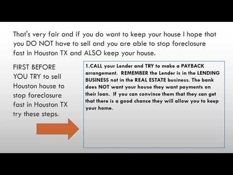 Stop Foreclosure Fast in Houston TX!