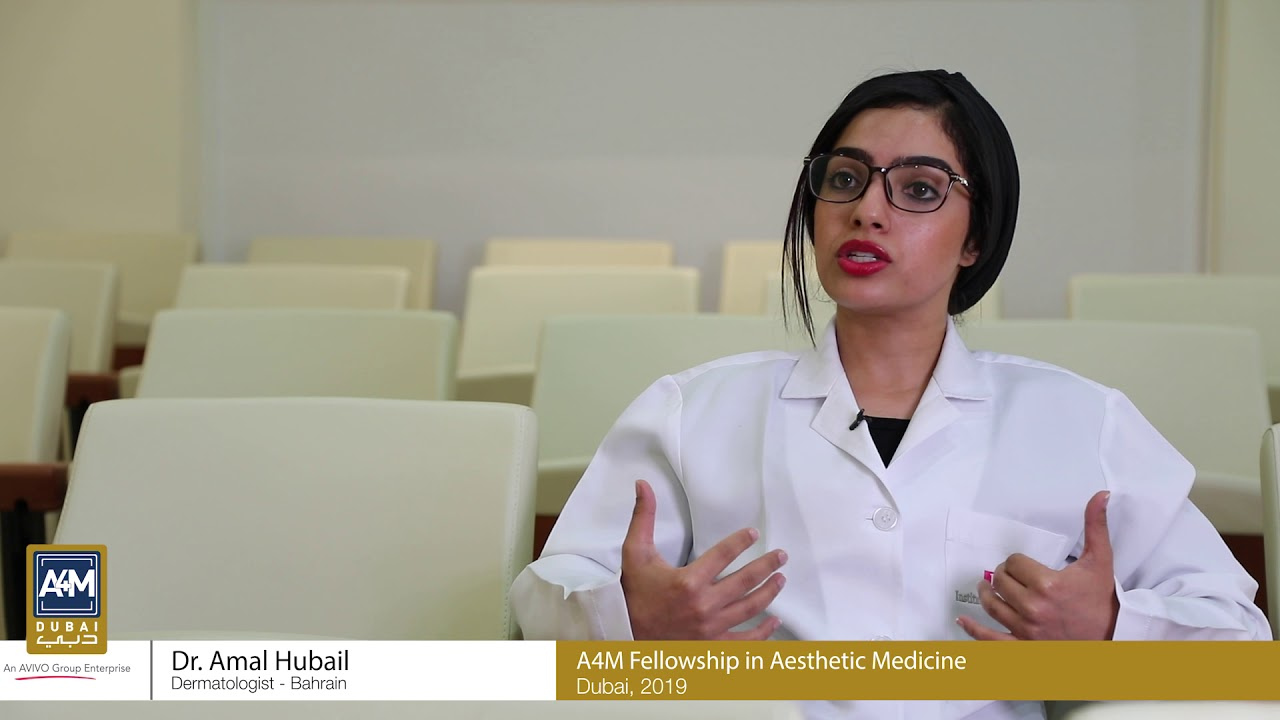 Dr  Amal Hubail (Dermatologist, Bahrain) Reviewing A4M Fellowship in  Aesthetic Medicine