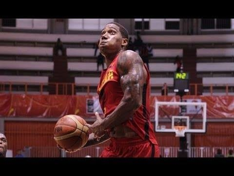 Carlos Morais windmill dunk at AfroBasket 2013 - Mozambique vs Angola