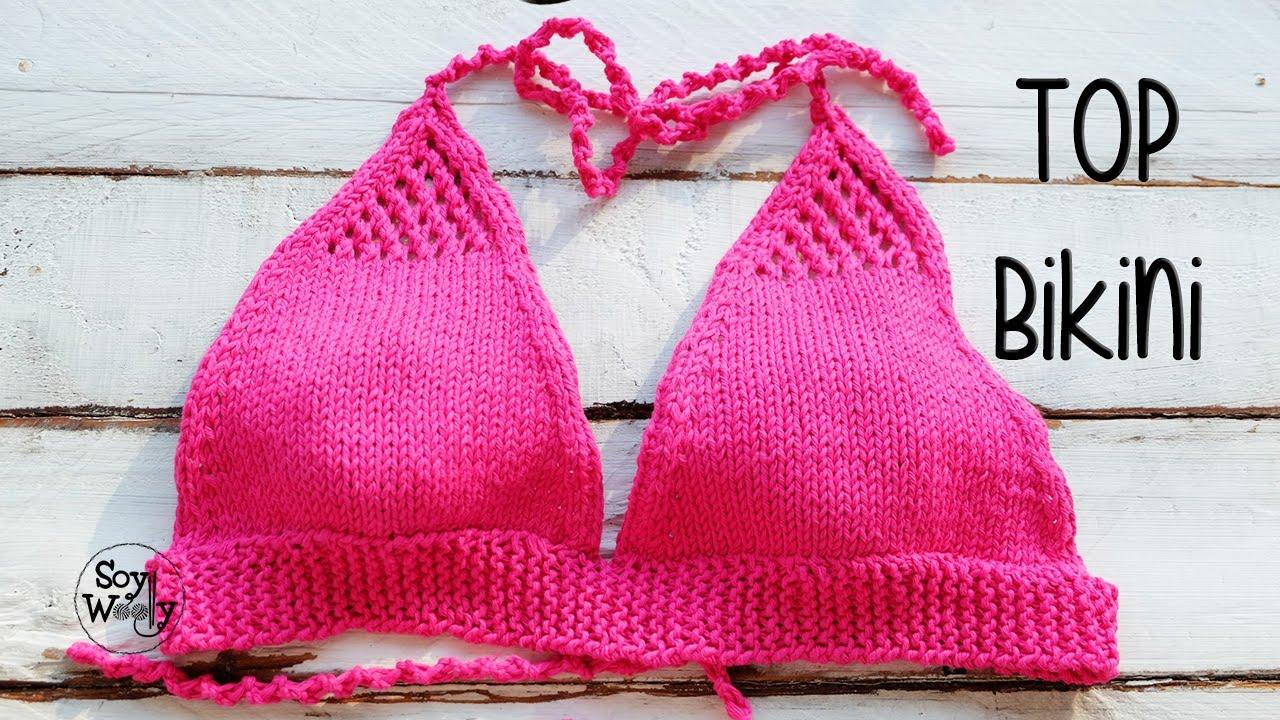 Cómo tejer un bikini fácil en dos agujas: el top-parte de arriba ...