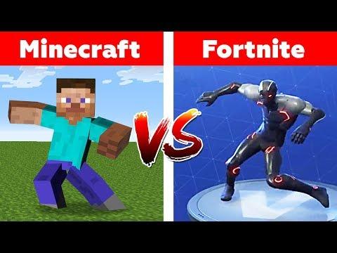 FORTNITE Vs MINECRAFT! WHO WILL WIN? Fortnite Dances In Minecraft