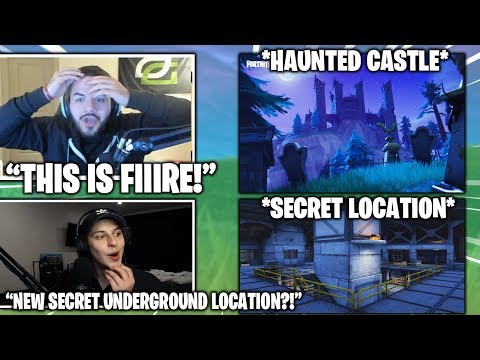 STREAMERS First Time Landing NEW Secret Underground Location & Haunted Castle! (Fortnite Moments)