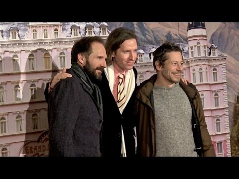 Ralph Fiennes, Wes Anderson and Mathieu Amalric at Grand Budapest Premiere in Paris  Photocall