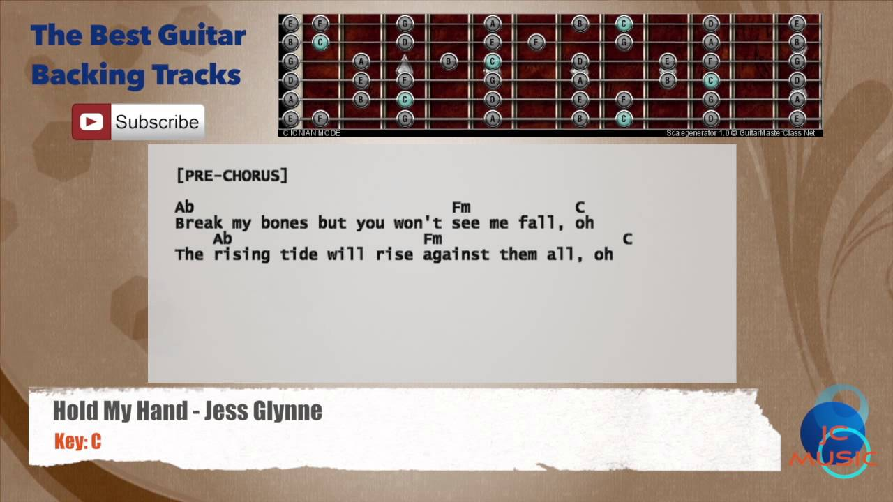 Hold My Hand Jess Glynne Guitar Backing Track With Scale Chords