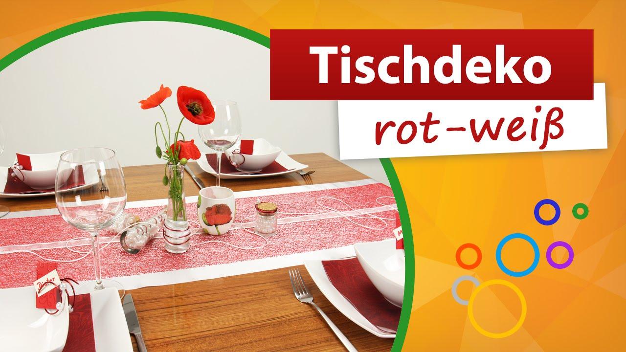 Tischdeko rot wei  Tischdekoration  trendmarkt24  YouTube