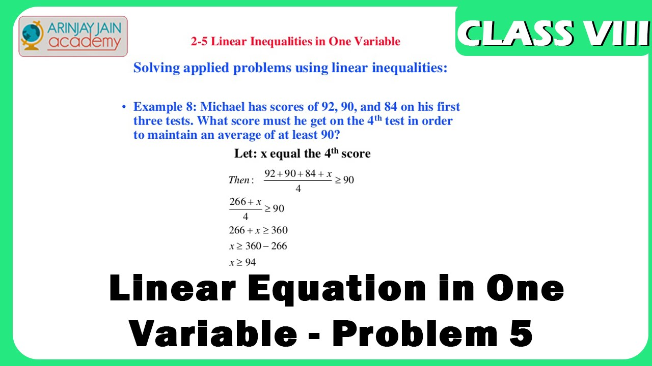 Linear Equation in One Variable - Problem 5 - Maths Class VIII ...