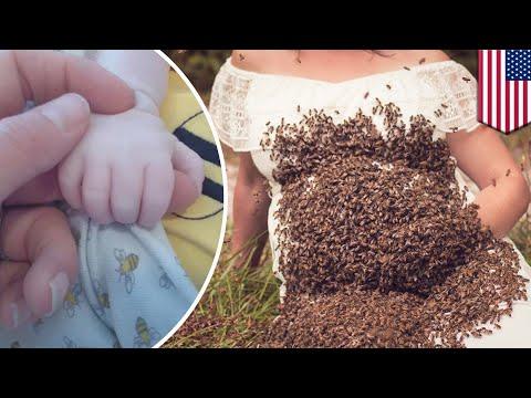 Wanita berpose dengan 20,000 lebah saat hamil, yang terjadi selanjutnya mengejutkan…  - TomoNews