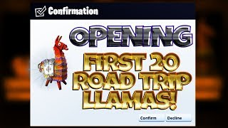 FORTNITE PvE : Opening 20 NEW Road Trip Llamas - Duplicate Glitch?