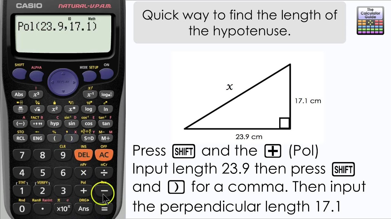 Quick Way Of Finding The Length Of The Hypotenuse (casio Calculator,  Fx83gt Plus, Fx85gt Plus)