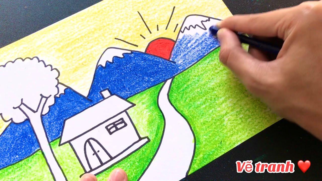 Vẽ tranh phong cảnh ĐƠN GIẢN với màu sáp