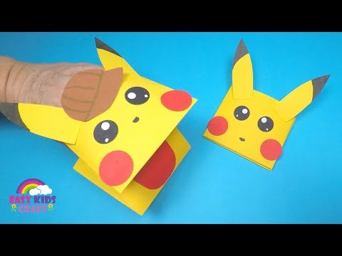 How to Make a Paper Pikachu Hand Puppet | Paper Craft for Kids