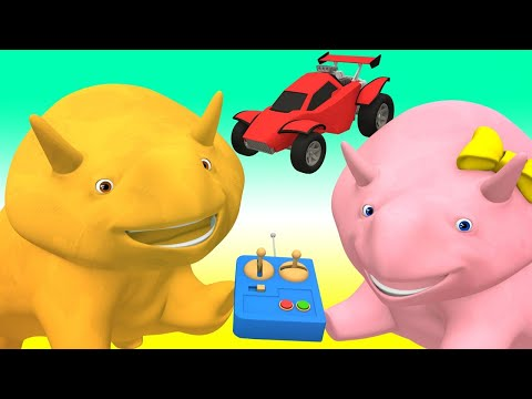 Learn numbers with radio-controlled cars - Learn with Dino the Dinosaur Educational cartoon for Kids