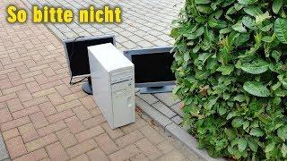 So bitte nicht - Computerfund unter freiem Himmel - Retro PC retten vorm Müll - LGR - [4K]