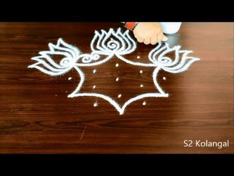 lotus muggulu designs with 5 to 3 Dots - easy thamarai kolam - friday rangoli designs