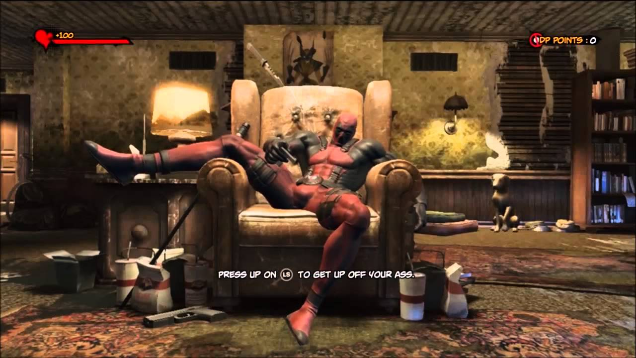 Deadpool Deadpool sitting in his chair all dialogue