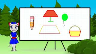 🎓 Геометрия с кисой Алисой. Урок 2.  Изучаем овал, трапецию, параллелограмм и ромб. (0+)
