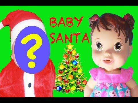 baby santa baby alive opens christmas presents paw patrol