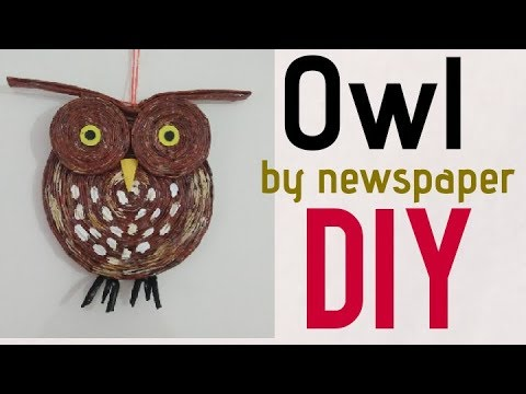 Paper Owl Craft-Owl by rolled newspaper