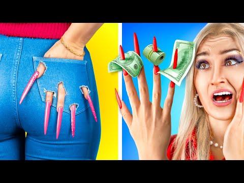 24 часа челлендж с очень длинными ногтями!