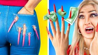 Фото 24 часа челлендж с очень длинными ногтями!