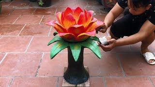 Colorful Life // A Colorful Flower // How To Make Flowers From Cement And Fabric