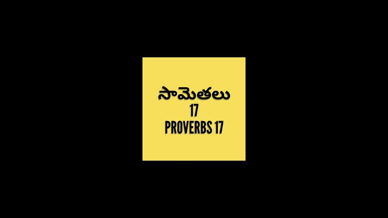 సామెతలు   17వ అధ్యయం తెలుగులో/proverbs 17 in Telugu/Telugu Bible audio by smiley