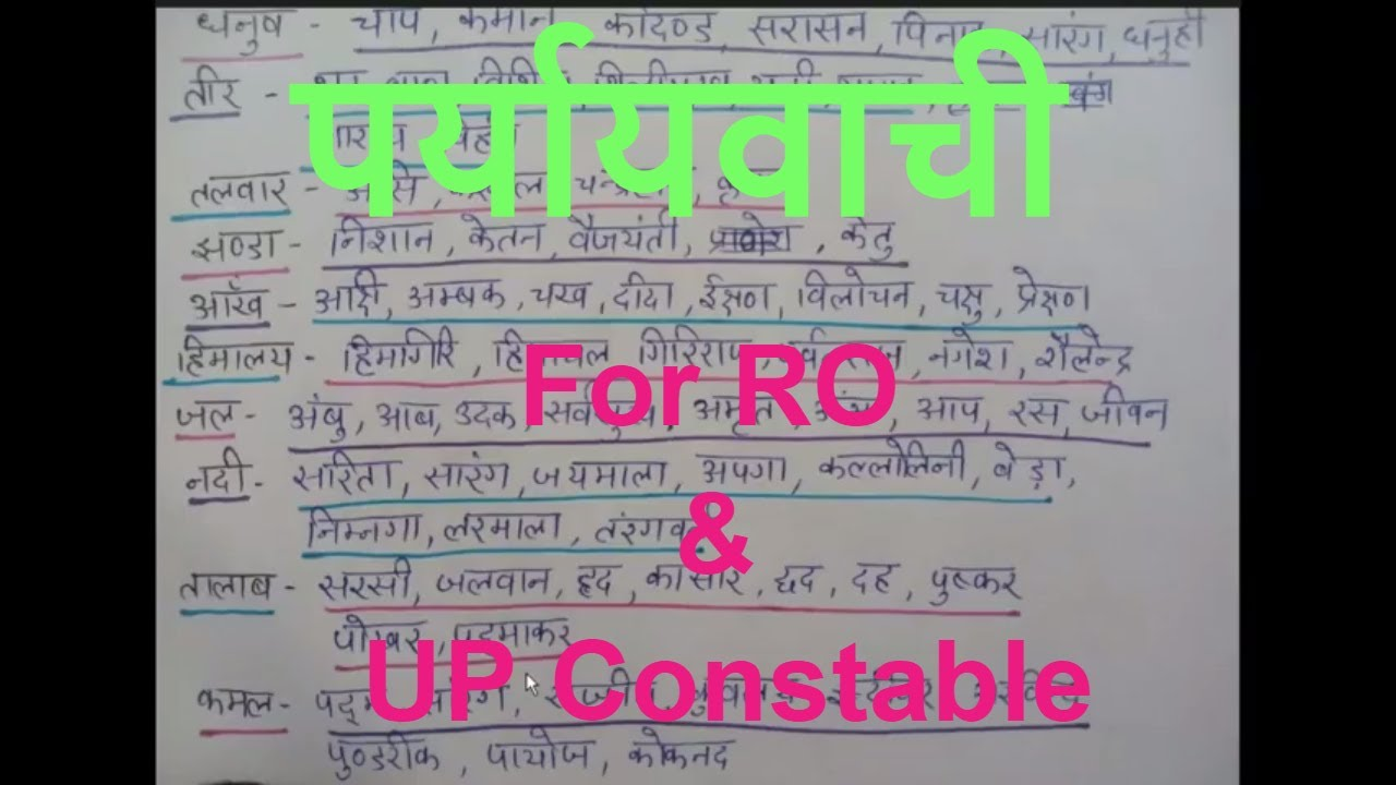 हिंदी पर्यायवाची शब्द For RO and UP Constable exam 2018- Hindi Synonyms for  UP Constable and RO