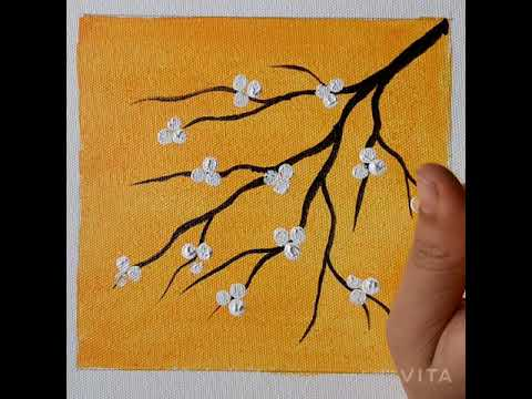 Easy Step By Flower Painting On, Paintings With Yellow Background