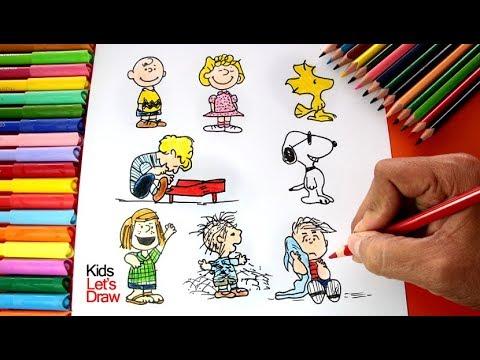 Cómo dibujar a los personajes de Snoopy y Charlie Brown (Carlitos ...