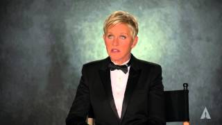 """Host ellen degeneres on the making of new oscars trailer starring herself and 250 tuxedo-clad men women dancing to """"the walker"""" by indie pop band fit..."""