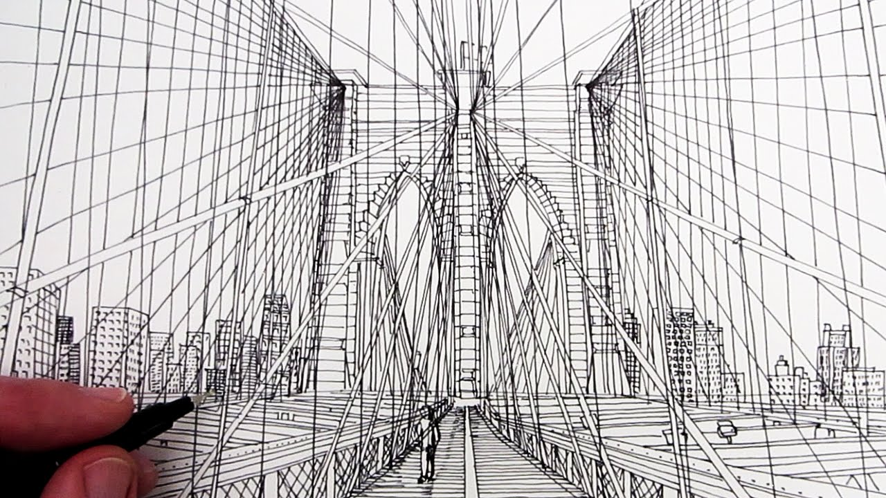 How to draw brooklyn bridge line drawing youtube malvernweather Gallery