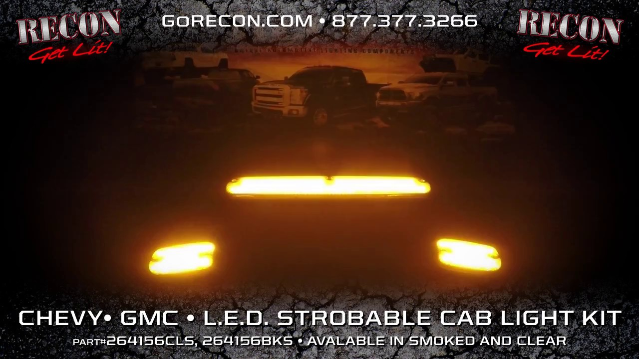 RECON CHEVY /& GMC 07-13 SMOKED OLED CAB LIGHTS W// AMBER LED/'S PART# 264156BKHP
