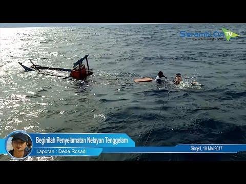 Beginilah Penyelamatan Nelayan Tenggelam di Lautan