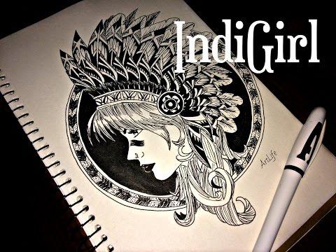 #3 І IndiGirl by ArtLife I Рисуем гелевой ручкой І Чёрно-белый рисунок І Эскиз тату
