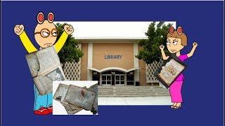 Arthur Und DW sich schlecht benehmen In Der Bibliothek Und reißen Die Bücher Und Holen Sie sich Geerdet