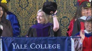 Hillary Clinton makes Russia joke in Yale speech