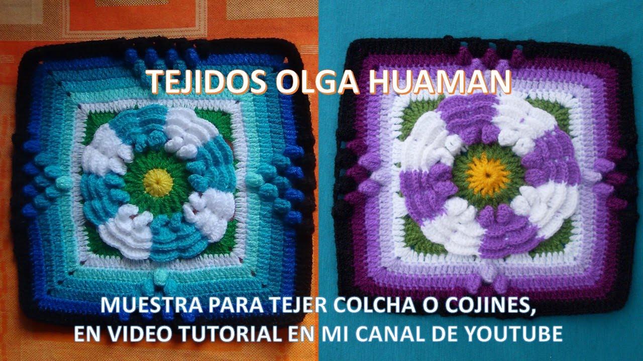 Cuadrado con flor de dos colores tejido a crochet para colcha paso a ...