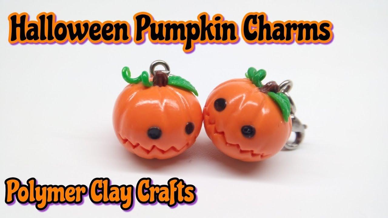 halloween pumpkin charm : polymer clay tutorial : easy diy : kawaii