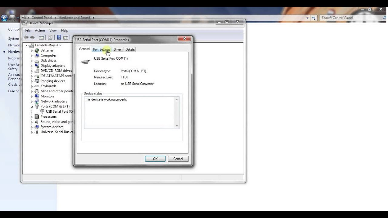 Procedure to set up COM port for PC control software