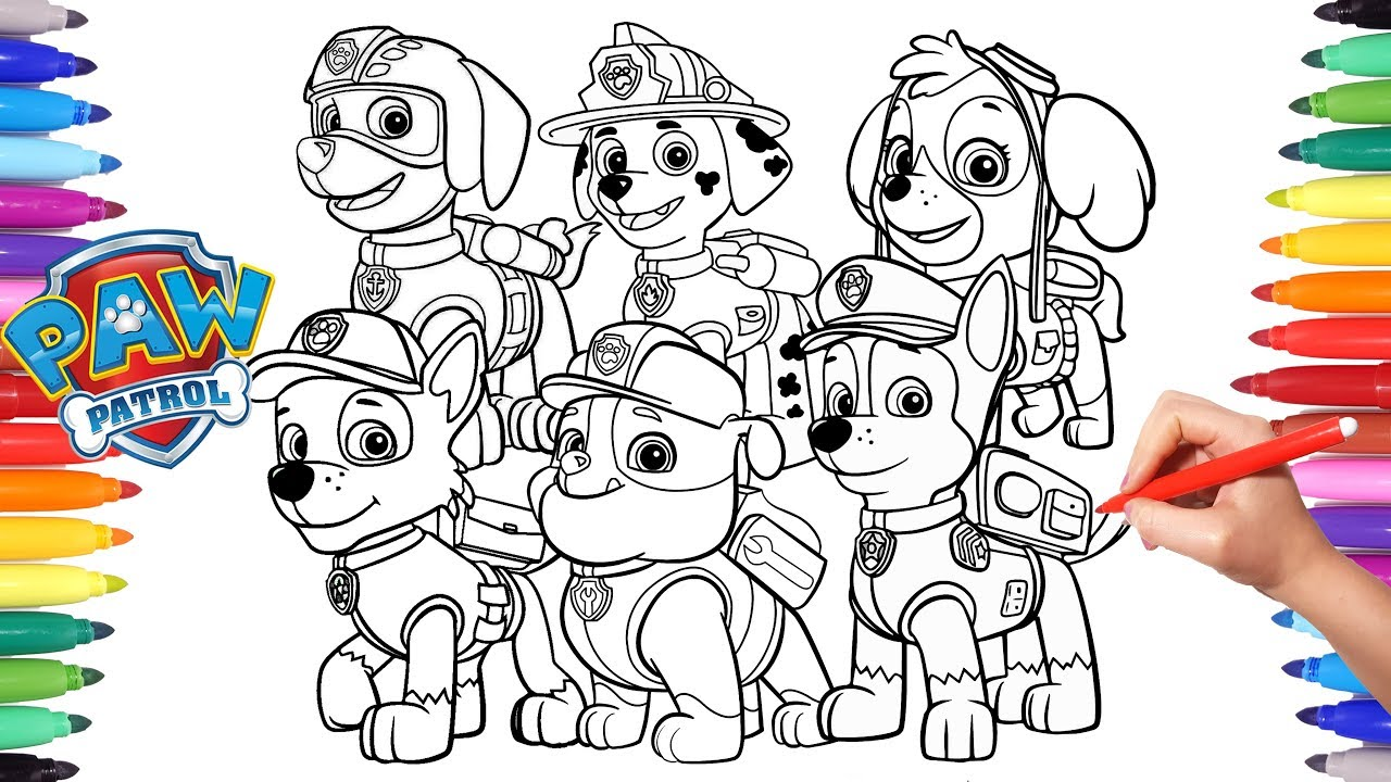paw patrol coloring book   how to draw paw pups for kids   chase marshall  rocky skye rubble zuma