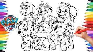 PAW PATROL Coloring Book | How to Draw Paw Pups for Kids | Chase Marshall Rocky Skye Rubble Zuma