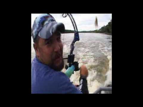 Jumping Silver Carp On The IL River With AMS Bowfishing