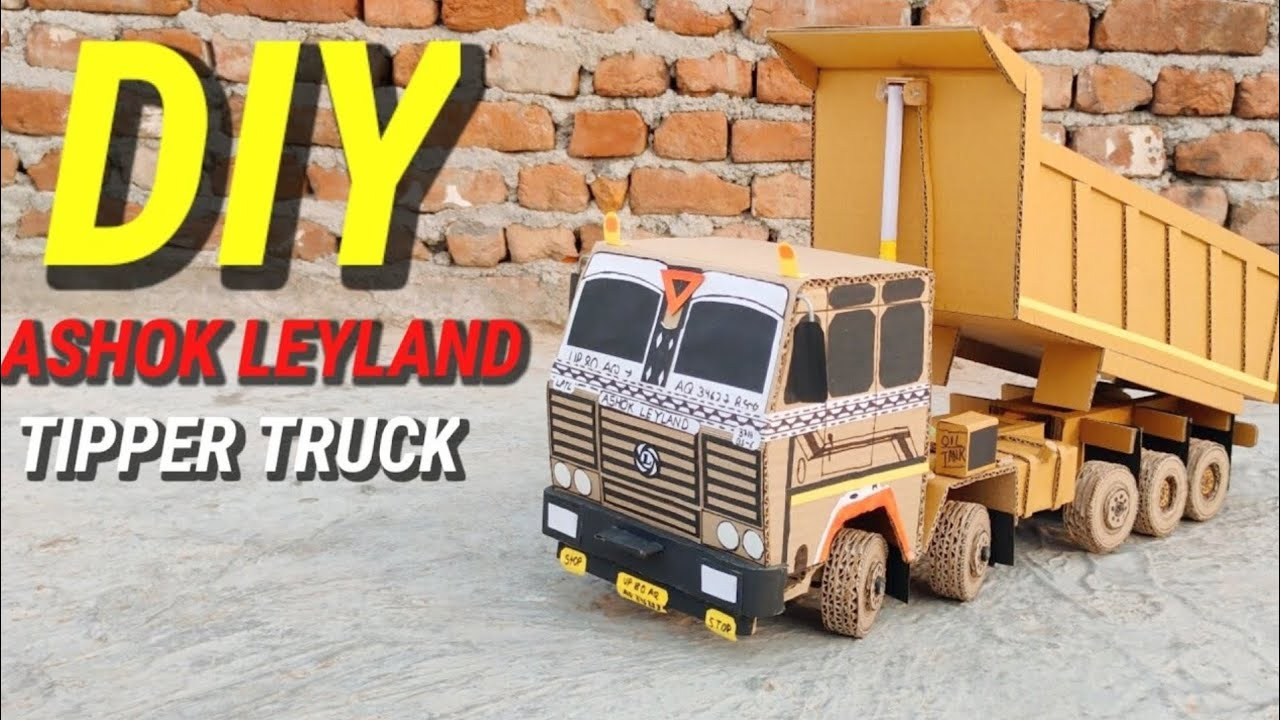 Download How To Make Rc 14 Wheel Ashok Leyland Tipper Truck From Cardboard And Homemade ll DIY 🔥