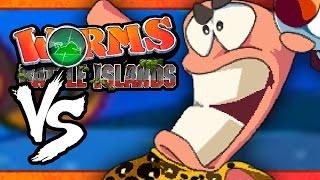 VS MODE: Worms: Battle Islands - WRONG BUTTON!! (Part 4) (4-Player)