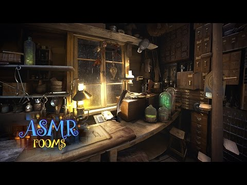 ★ Fantastic Beasts Ambience 1 hour ☘ Newt Scamander's Magical Suitcase Shed - rain, quill scratching